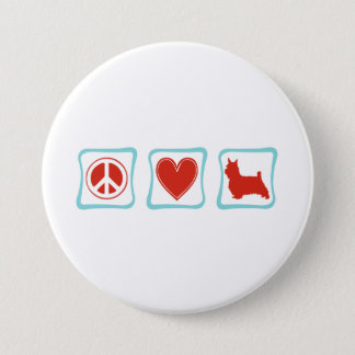 Peace Love Silky Terrier Squares Button