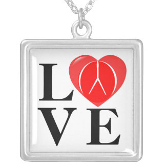 PEACE & LOVE SILVER PLATED NECKLACE