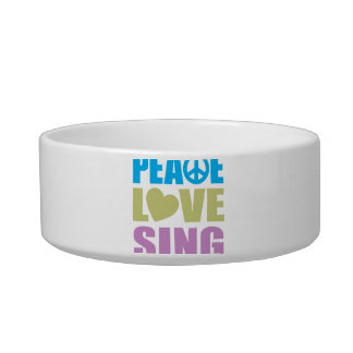 Peace Love Sing Cat Water Bowls
