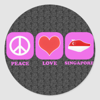 Peace Love Singapore Classic Round Sticker