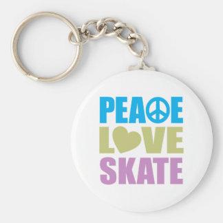 Peace Love Skate Basic Round Button Keychain