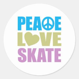 Peace Love Skate Classic Round Sticker