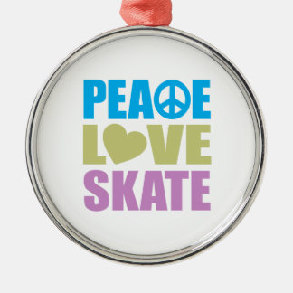 Peace Love Skate Metal Ornament