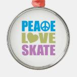 Peace Love Skate Round Metal Christmas Ornament