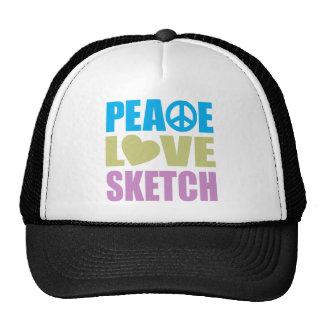 Peace Love Sketch Mesh Hats