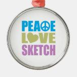 Peace Love Sketch Ornament