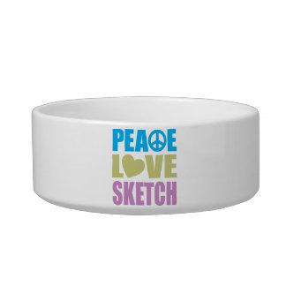 Peace Love Sketch Cat Bowl