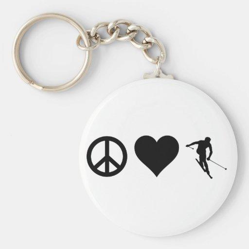 Peace Love Ski Basic Round Button Keychain