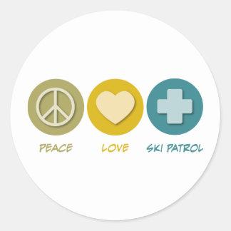 Peace Love Ski Patrol Classic Round Sticker