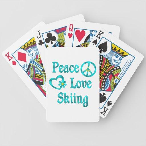 Peace Love Skiing Bicycle Poker Deck