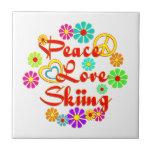 PEACE LOVE Skiing Ceramic Tiles