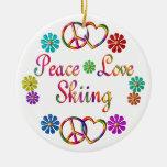 PEACE LOVE SKIING CHRISTMAS ORNAMENTS