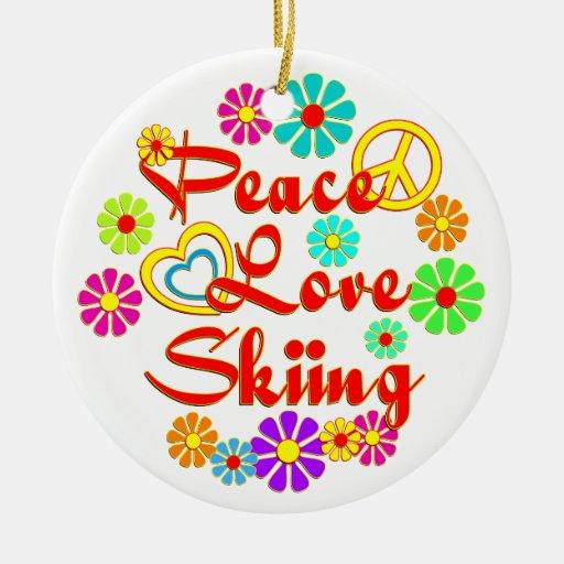 PEACE LOVE Skiing Christmas Tree Ornaments