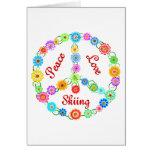 Peace Love Skiing Greeting Card