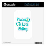 Peace Love Skiing iPod Touch 4G Skins