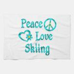 Peace Love Skiing Kitchen Towel