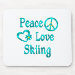 Peace Love Skiing Mouse Pads
