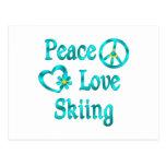 Peace Love Skiing Postcard