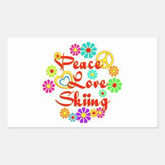 PEACE LOVE Skiing Rectangular Sticker