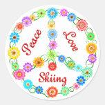 Peace Love Skiing Round Sticker
