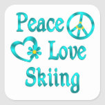 Peace Love Skiing Stickers