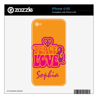 Peace & Love Skin For The iPhone 4S