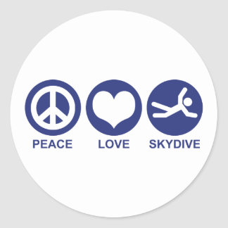 Peace Love Skydive Round Stickers