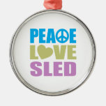 Peace Love Sled Christmas Tree Ornaments