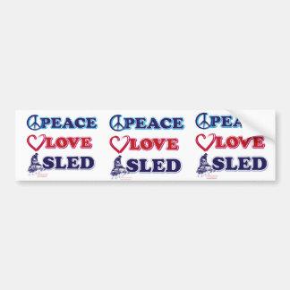 Peace-Love-Sled-on-Dark Bumper Sticker
