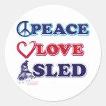Peace-Love-Sled-on-Dark Classic Round Sticker