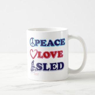 Peace-Love-Sled-on-Dark Coffee Mug