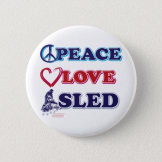 Peace-Love-Sled-on-Dark Pinback Button