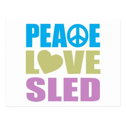 Peace Love Sled Postcard