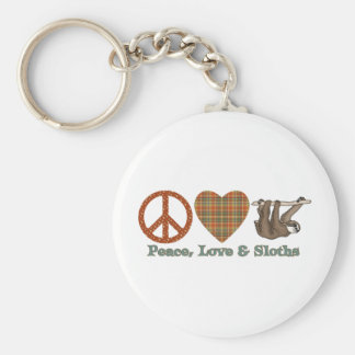 Peace, Love & Sloths Basic Round Button Keychain