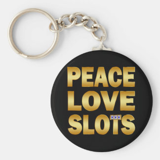PEACE LOVE SLOTS BASIC ROUND BUTTON KEYCHAIN