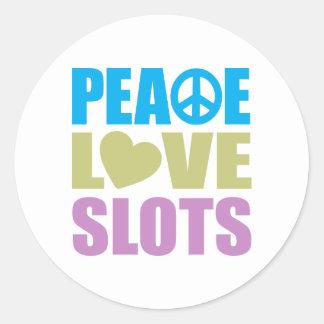 Peace Love Slots Classic Round Sticker