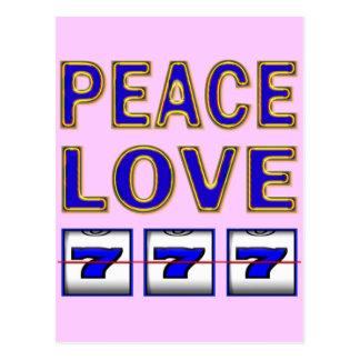 PEACE LOVE SLOTS POSTCARD