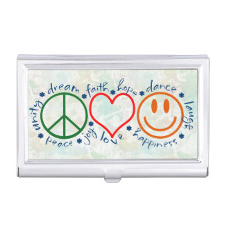 Peace Love Smile Case For Business Cards