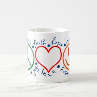 Peace Love Smile Classic White Coffee Mug