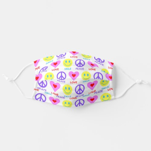 Peace Love Smile Pattern Adult Cloth Face Mask