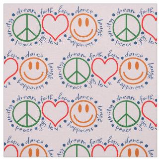 Peace Love Smile Pattern Fabric