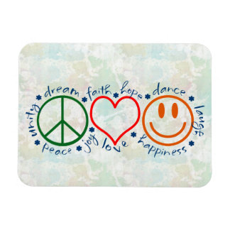 Peace Love Smile Rectangle Magnet