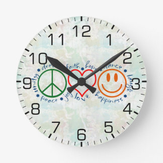 Peace Love Smile Round Clock