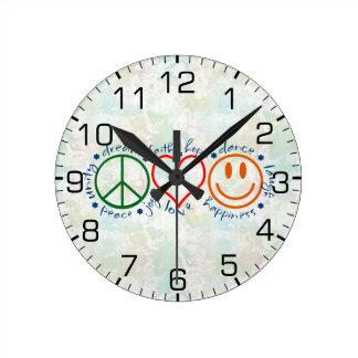 Peace Love Smile Round Clock
