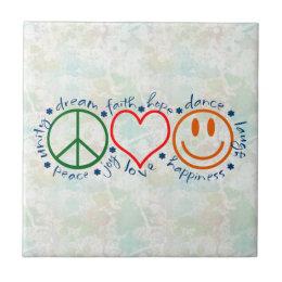 Peace Love Smile Tile