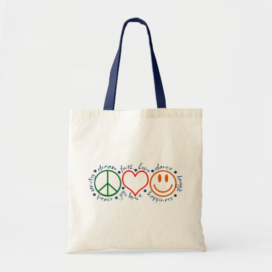 Peace Love Smile Tote Bag