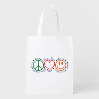 Peace Love Smile Grocery Bag
