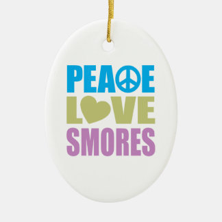 Peace Love Smores Double-Sided Oval Ceramic Christmas Ornament