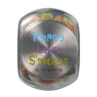 Peace Love S'mores Oil City, WA Jelly Belly Jar Glass Candy Jar