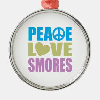 Peace Love Smores Round Metal Christmas Ornament